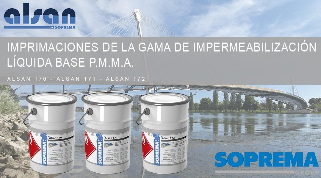 Imprimaciones de la gama de impermeabilización líquida base P.M.M.A