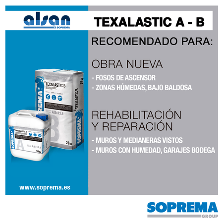 TEXALASTIC mortero cementoso bicomponente y flexible